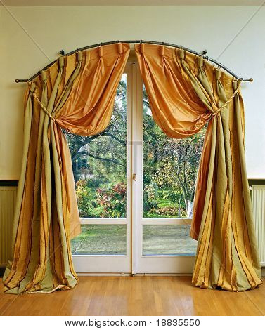 Luxury curtain with garden view in the middle