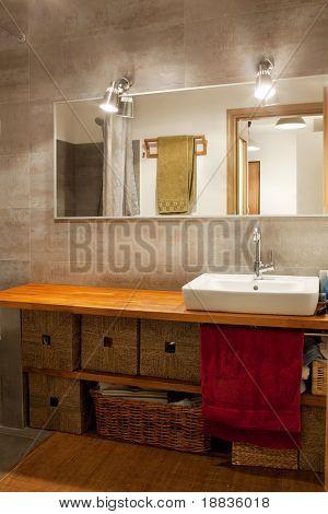 modern bathroom in warm colors