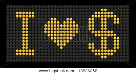 yellow button board words i love dollar isolated on black board