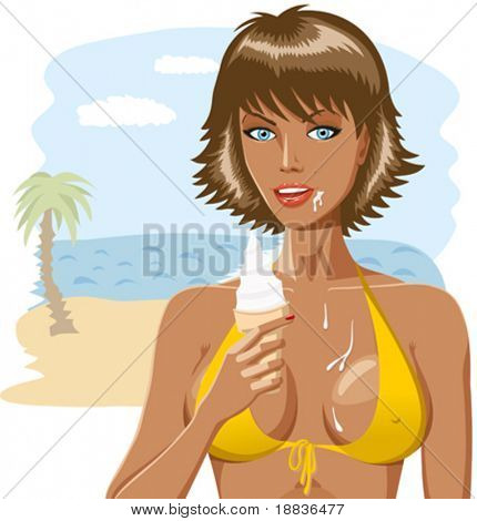 Beautiful dirty girl in bikini with ice-creame isolated