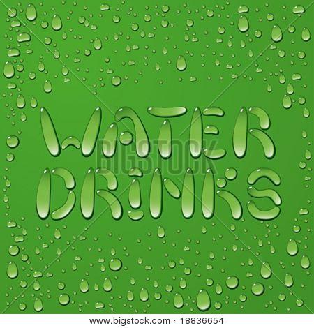 Palavras de gota de água e bebidas em fundo verde
