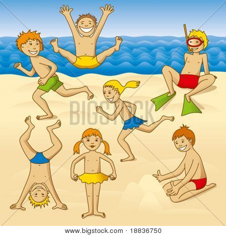 playing kids on a beach at the sea