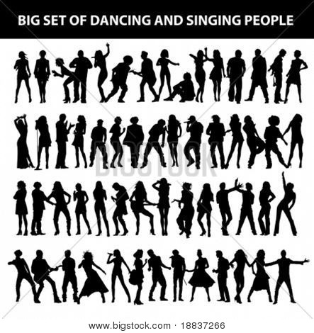 dancing and singing people's silhouette isolated on white background