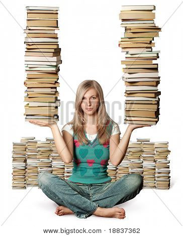 woman in lotus pose with many books in her hands isolated on white
