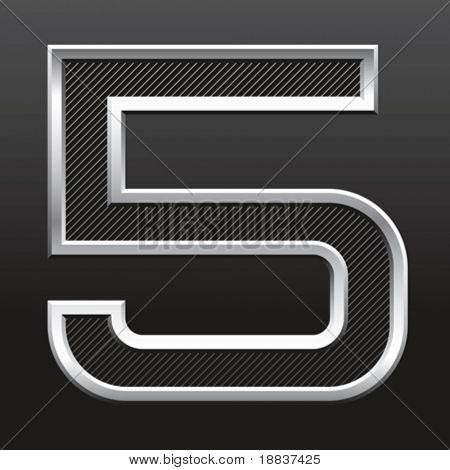 vector silver metallic number with stripes isolated
