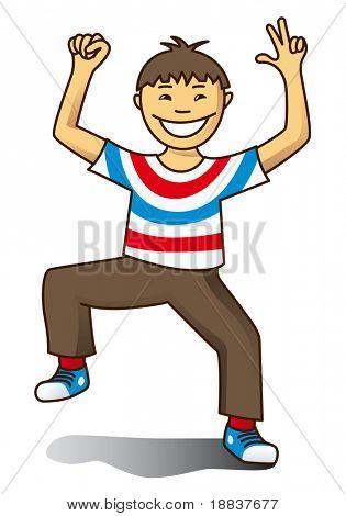 boy celebrates independence day isolated on white background