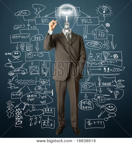businessman with lamp-head and marker writting something on glass writeboard