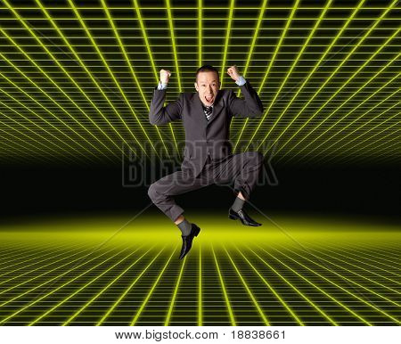 Happy businessman jumping in air isolated on white background, in fantastic place