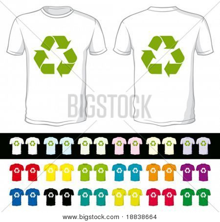 vector blank shorts with recycling symbol of a different color isolated on white and black
