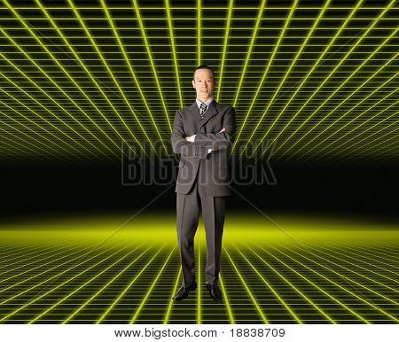 smiling standing businessman in fantastic place, in suit
