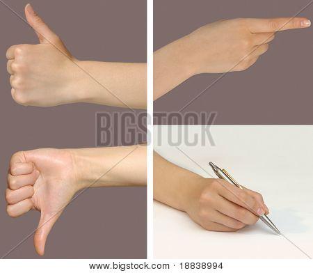 Mujer manos mostrando diferentes gestos como excelente, malo, una mano apuntando a algo y wri