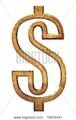 High resolution golden dollar symbol 3d model