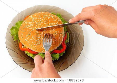 Big appetizing hamburger with vegetables junk food on plate white background