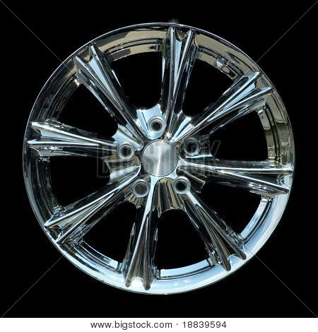 Aluminium metal wheel rim texture isolated on black