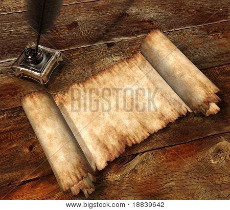 Rollo de bote de tinta de pergamino y pluma de escritura en la antigua mesa de madera