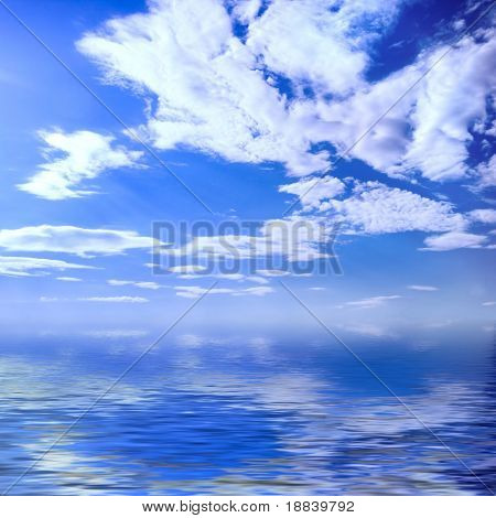 Wonderful sky blue cloudy seascape crystal clear water summer nature background
