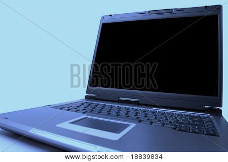 Black laptop computer display closeup isolated on white background