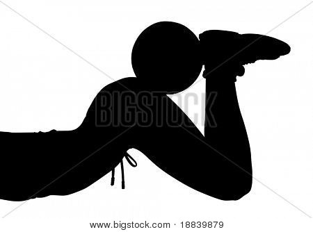 Sexy girl black white silhouette with soccer ball on her butt isolated with clipping path