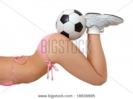 Sexy girl in bikini with soccer ball on her butt isolated with clipping path