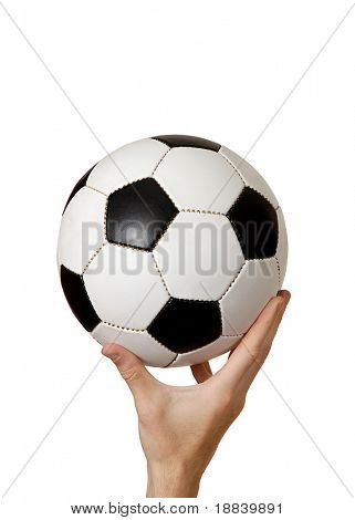 Man holding soccer ball in his hand concept isolated on white background with clipping path