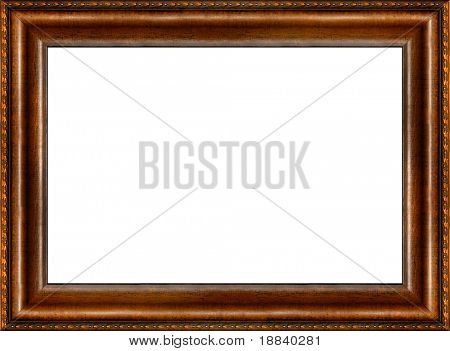 Antique wooden grungy background patterned photo frame isolated horizontal border