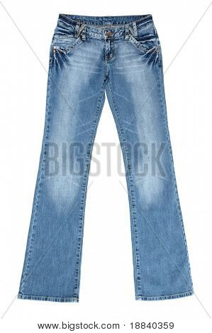 Blue female jeans isolated on white with clipping path