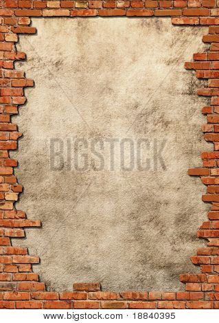 Plaster background with brick wall framing
