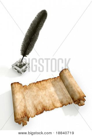 Vintage manuscript and a quill in inkpot isolated on white background 3D stil life