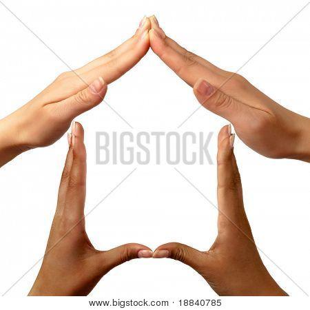 Startseite konzeptionelle Symbole, hergestellt aus schwarzen und weißen Hände isolated over white background