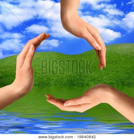 Recycling symbol made from hands on summer nature background Environment and ecology artistic concept