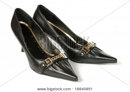 Black stylish leather high heel female shoes isolated on white background