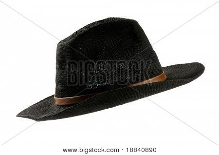 Black men's cowboy hat isolated silhouette over white background