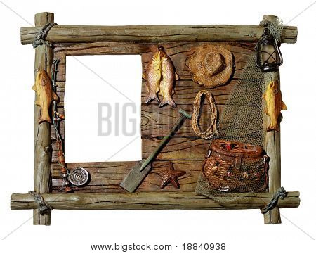 Decorative artistic wooden picture frame Fishing theme Isolated silhouette over white background with a clipping path