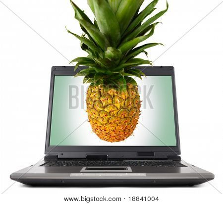 Laptop computer close-up with an appetizing pineapple sticking out of its display Isolated on white background
