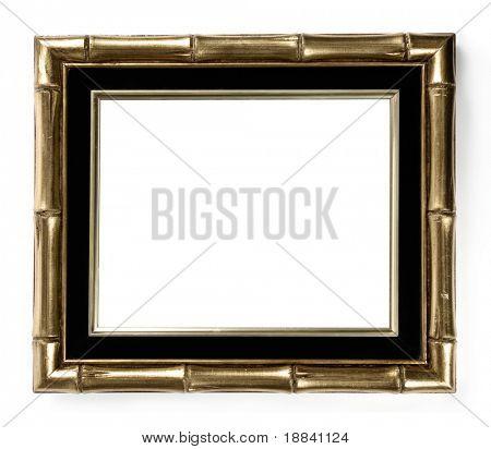 Vergoldete Bambus dekorative Bild Frame Isoolated auf weißem Hintergrund