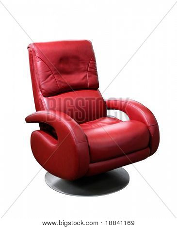 Red office leather chair isolated on whit3e with clipping path