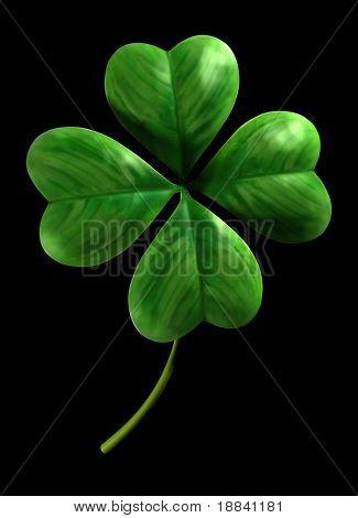 Vier vierblättrigen Kleeblatt Symbol für Glück und St. Patrick Day holiday isoliert auf schwarzem Hintergrund