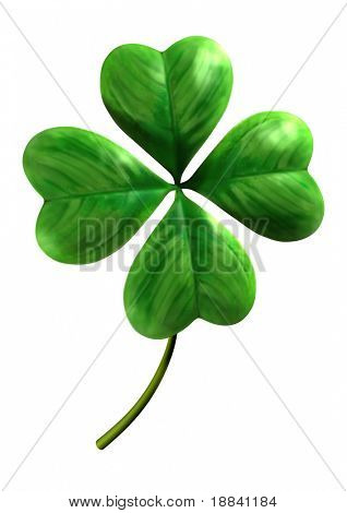 Four leafed shamrock Symbol of luck and Saint Patrick Day holiday Isolated on white background