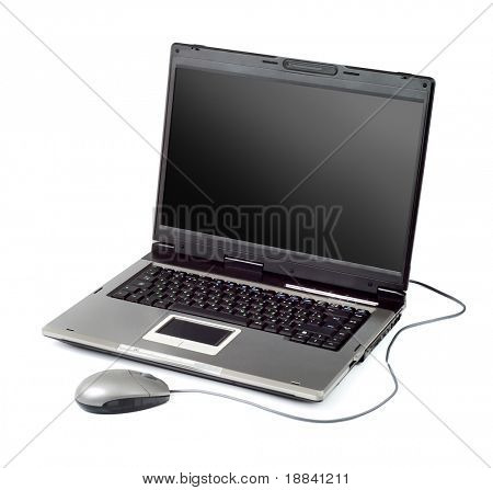 Black high-end laptop computer with mouse isolated on white background with clipping path around display