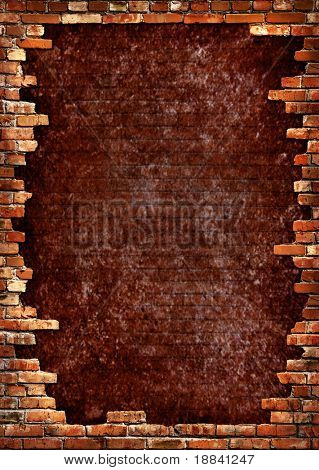Grunge dark red concrete wall in a brick frame conceptual background texture
