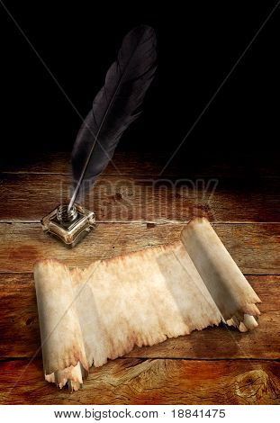 Old Parchment and a Quill in ink well on a table