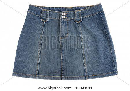 Blue denim mini skirt isolated on white background