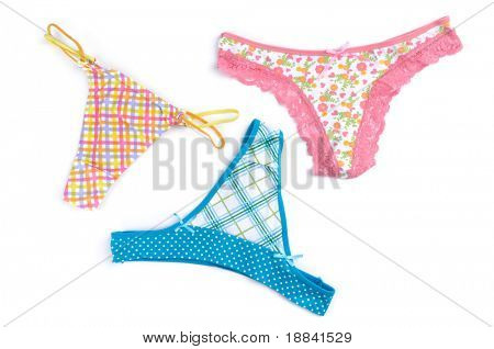 Colorful thongs isolated on white background