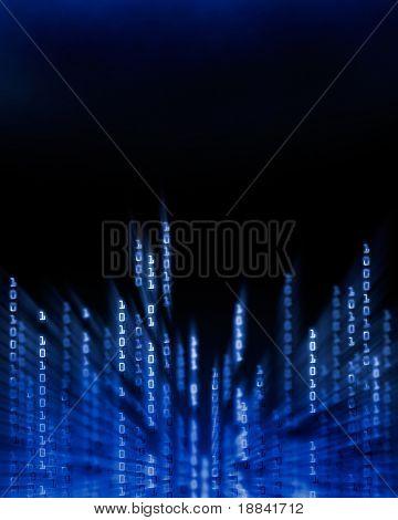 Glowing binary code data digits flowing on computer display