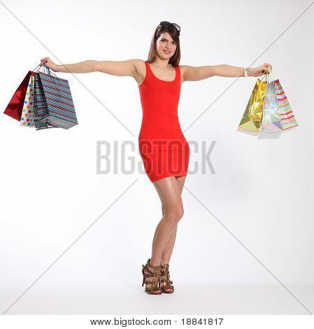 Shop Till You Drop Sexy Young Girl Holds Up Bags
