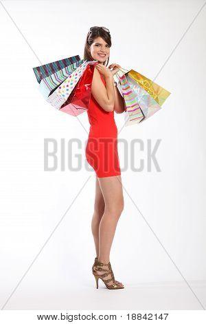 Sexy Girl Shopping In Short Dress High Heels
