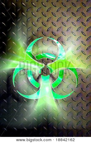 Glowing biohazard symbol over steel background Conceptual photo-illustration Contains a clipping path