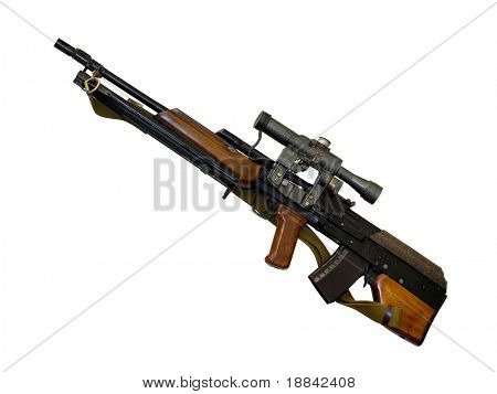 Hunting carbine bullpup system and telescopic sight isolated with clipping path on white background