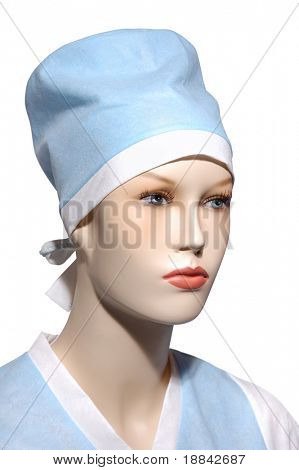 Female mannequin in a surgeon coat and a hat on it Isolated on white background with a clipping path