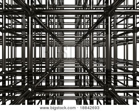 Abstract shining chrome metal girder structure. Conceptual 3D illustration.